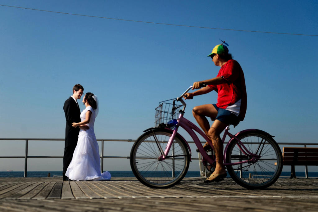 boardwalk bike bride groom